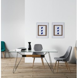 Table ZELIA - Brushed steel & Oak