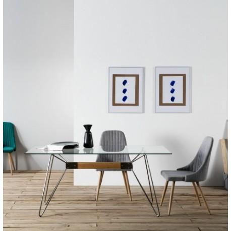 Table ZELIA - Brushed steel & Oak