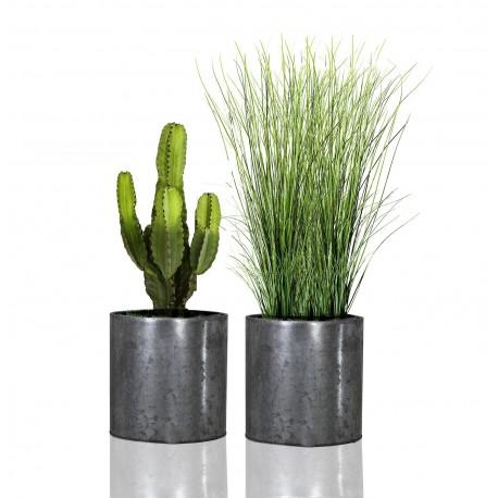 DUO de SUPPORTS PLANTES KABSI- ZINC Argenté & Aluminium