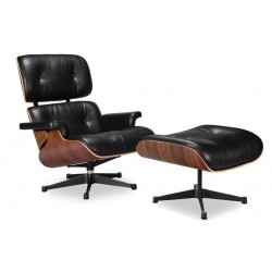 Lounge chair & Ottoman Palissandre précieux / Cuir noir