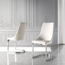 Chaise VAGA Cuir Blanc