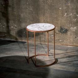 Table de coin STUTTGART- Façon marbre blanc de Carrare / Cuivre