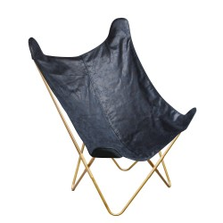 Fauteuil BUTTERFLY - Suedine bleue navy