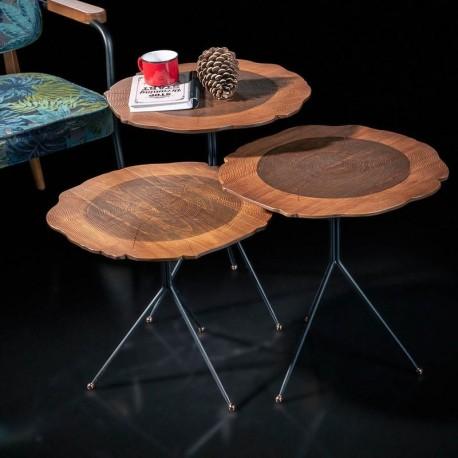 Trio de tables BEYROUTH - Noyer / Cuivre rosé