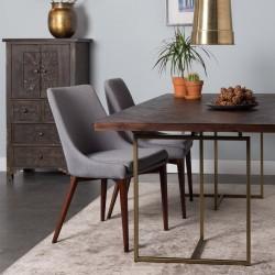 Table à manger MONROVIA - Acacia & Laiton vintage