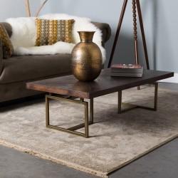 Table basse MONROVIA - Acacia & Laiton vintage