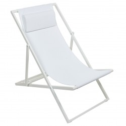 Chaise longue LAYNA - Alumium Blanc Perle / Textilène comfort