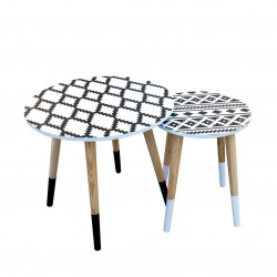 Duo de tables AZA - Ethnical Black & White