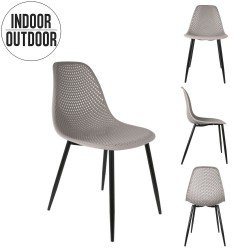 Chaise MALUM - Indoor/Outdoor - Taupe, Gris & Noir