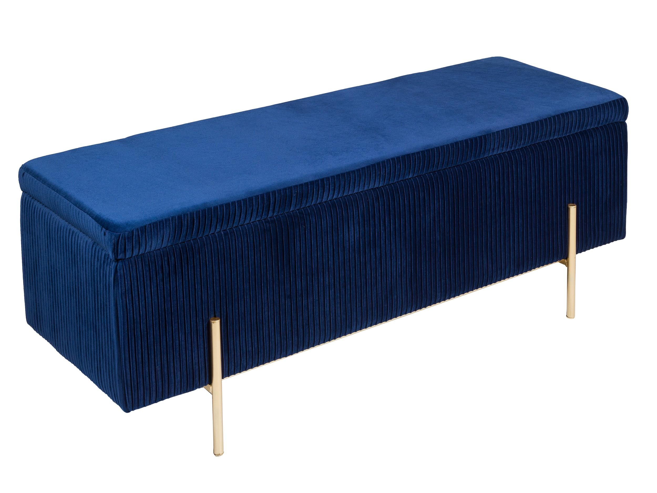 Malle Comme Table Basse banc / malle - scarlett - velours navy & laiton doré