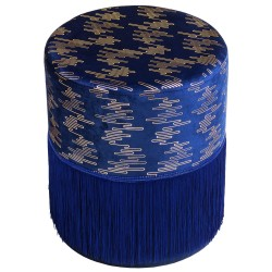 Tabouret LUXIA - Velours Navy & Gold