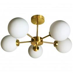 Suspension GLOBUS 5 globes - Laiton doré & Verre opalin