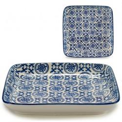 Plat en porcelaine BLUE ORIENT - Carré - 19x19cm