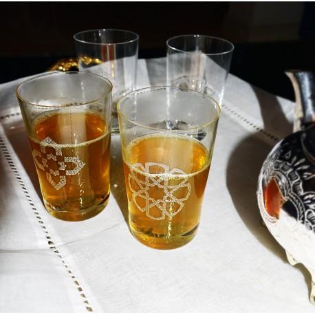Coffret de 6 verres à thé en Cristal CHAY - Motif au choix