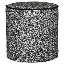 Tabouret JILY - Toile de coton DOUALA brodée